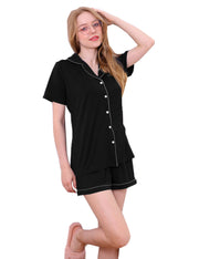 Womens Short Sleeve V-Neck Notch Collar Top And Comfortable Shorts Pajama Set