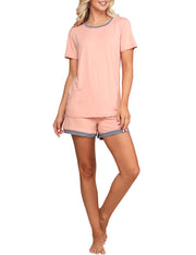 Round Banded Neckline And Shorts Pajama Set