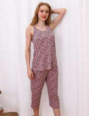 Womens Sleeveless V-Neck Banded Neckline And Knee Length Pants Pajama Set