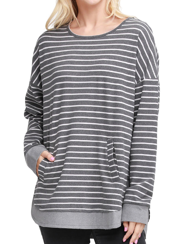 KANGAROO POCKET LOOSE FIT SWEATSHIRT WITH BANDED CONTRAST