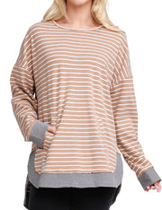 Womens long sleeve round neckline stripe losse fitting sweatshirt with contrast band