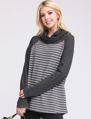 COWL TURTLE NECK SWEATSHIRT