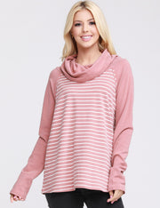 Womens long sleeve cowl turtle neck stripe loose fitting sweat shirt