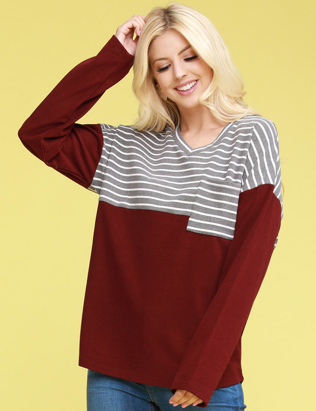 Round V-Neck Stripe Paneled Sweatshirt