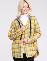 Womens long sleeve plaid hooded shirt with contrast grey hood