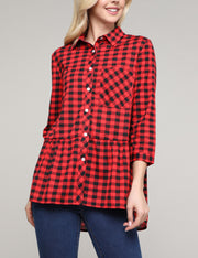 Womens 3/4 sleeve button closure plaid shirt with chest patch pocket and flared peplum