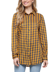 Womens long sleeve loose fitting button down plaid casual shirt with roll up sleeve tab