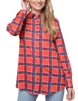 Loose Fitting Button Down Plaid Casual Shirt
