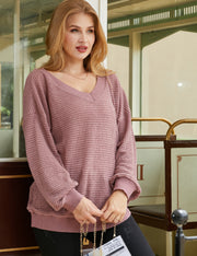 Ribbed V Neck Long Sleeve Waffle Knit Sweater Top