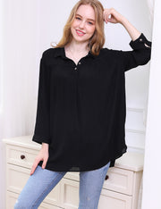3/4 Sleeves Button Up Flowy Top