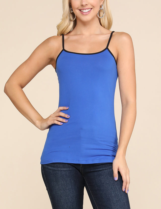 Camisole Neckline Tight Fitting Basic Tank Top