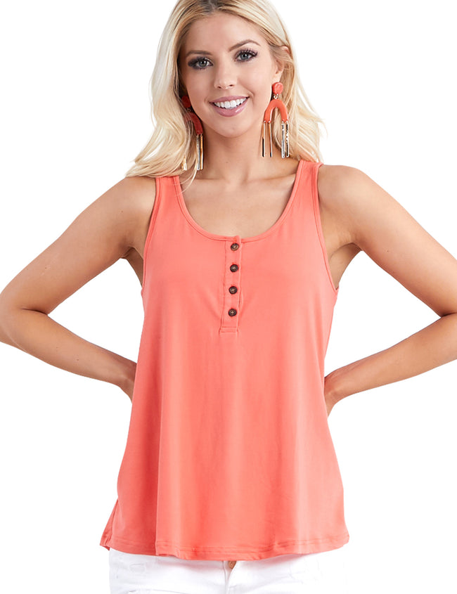 BASIC LOOSE FIT TANK TOP WITH BUTTON