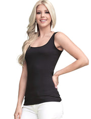 Womens sleeveless scooped neckline tight fitting basic tank top