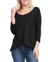 Womens 3/4 sleeve boat neckline layred front stylish top