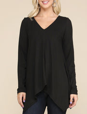 Womens long sleeve decollete neckline lovely top with flared asymmetric hem