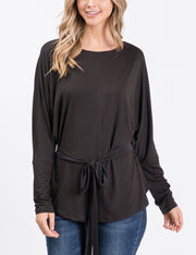 Womens dolman long sleeve boat neckline loose fitting stylish top with front knotted strap