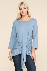 Dolman 3/4 Sleeve Round Neckline Loose Fitting Casual Top