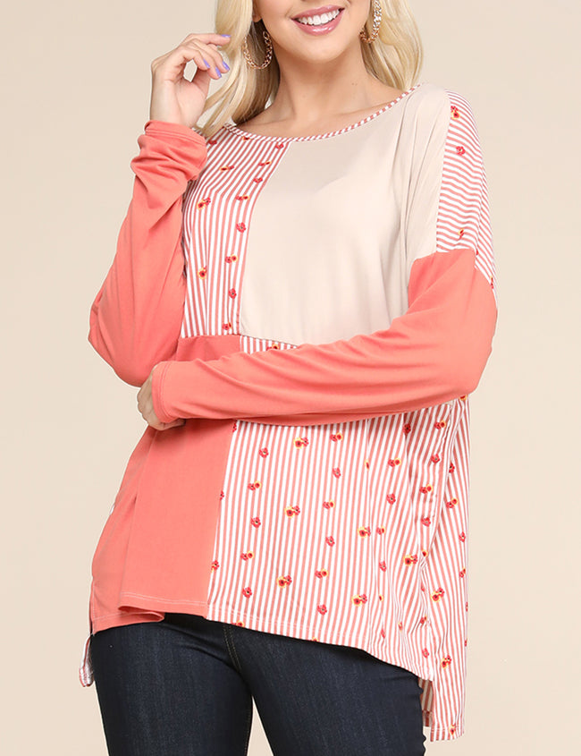 Boat Neckline Loose Fitting 4 Block Tee