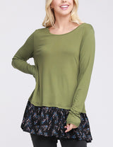 Womens long sleeve boat neckline lovely top with contrast flared ruffle peplum