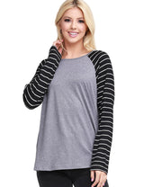 Contrast Boat Neckline Loose Fitting Basic Tee