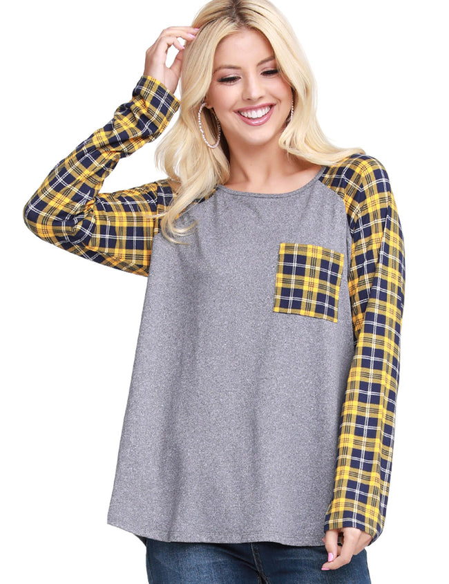 CONTRAST RAGLAN LONG SLEEVE TOP WITH POCKET