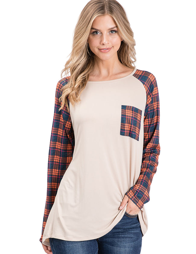 Boat Neckline 2 Tone Loose Fitting Casual Tee
