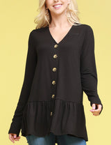 LONG SLEEVE BUTTON DOWN V-NECK TOP/ CARDIGAN WITH CONTRAST BOTTOM