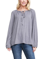 Womens elastic closure long sleeve knotted round neckline loose fitting lovely top with flared hem and spaghetti strap