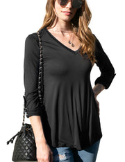 Flared Hem V-Neck Top