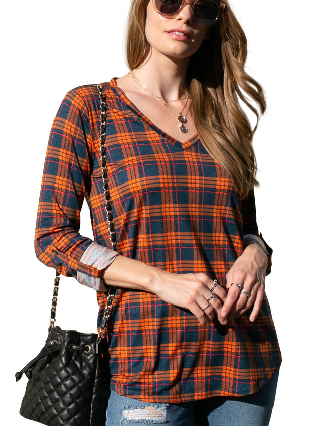 Womens flared hem V-neck top with buttoned roll up 3/4 sleeve