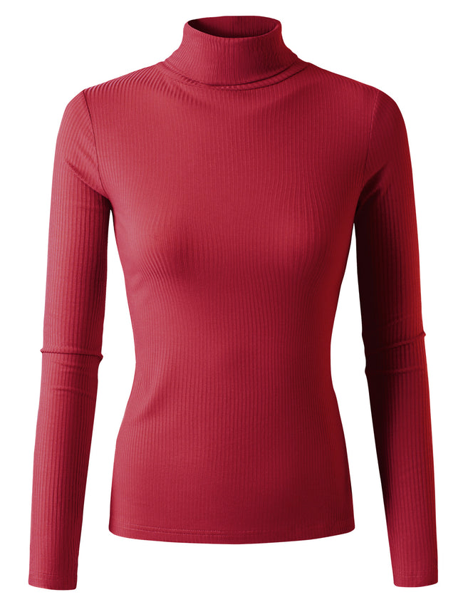 Womens long sleeve turtleneck tight fitting rib top