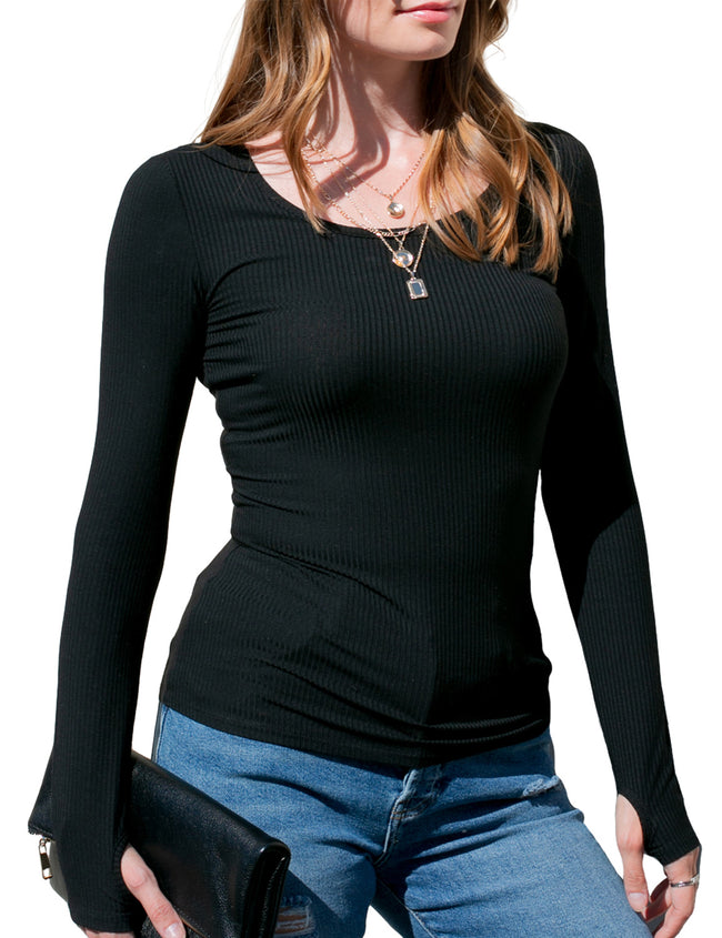 Womens long sleeve scooped neckline tight fitting rib tee