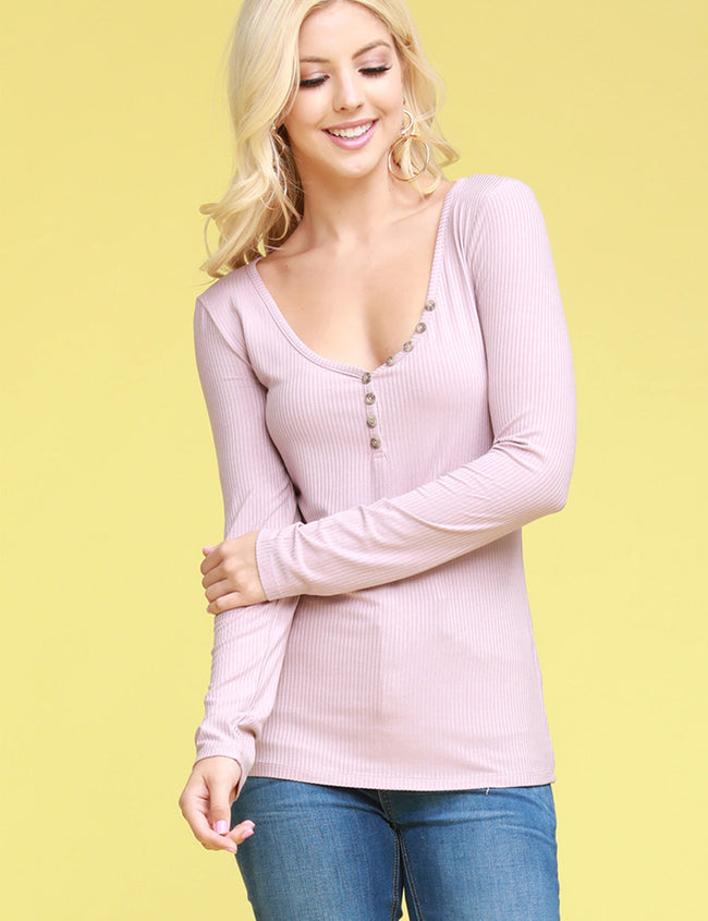 Womens long sleeve buttoned sooped neckline tight fitting rib top