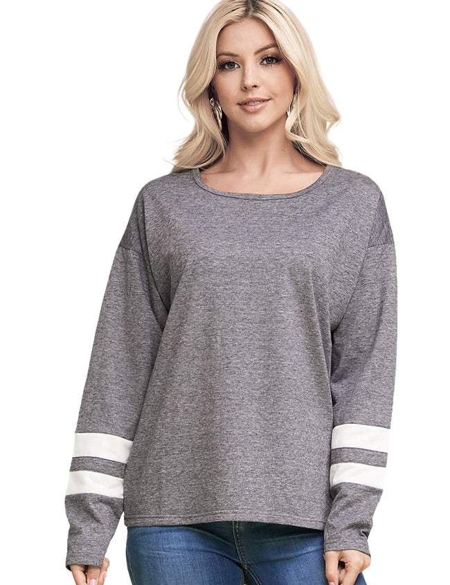 Womens lined long sleeve boat neckline loose fitting basic sweat shirt