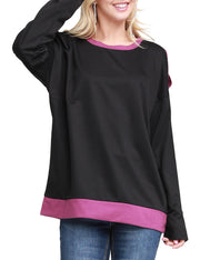 Womens long sleeve round neckline slit shoulder loose fitting sweatshirt with lined neckline and hem