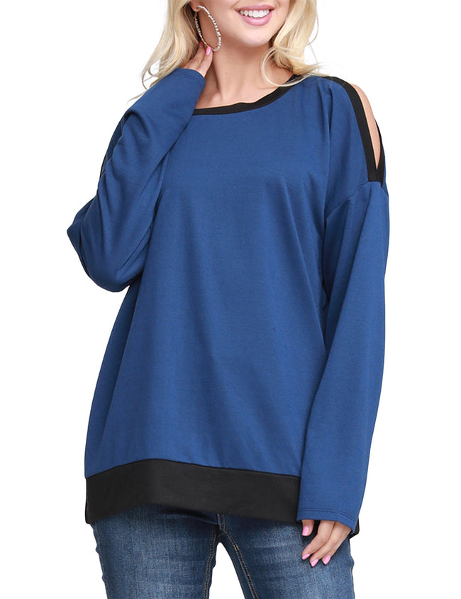Round Neckline Slit Shoulder Loose Fitting Sweatshirt