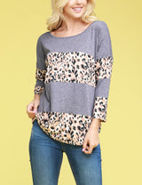 3/4 Sleeve Round Neckline Loose Fitting 2 Colored 4 Block Casual Tee