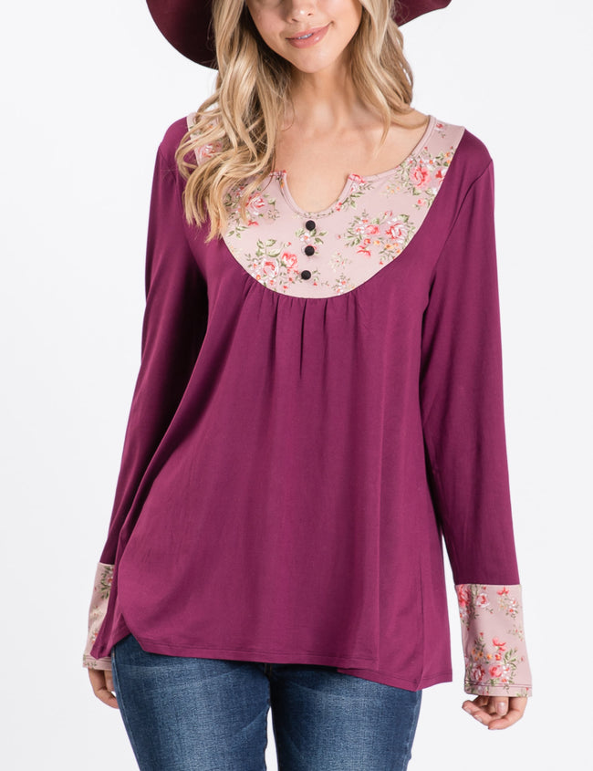Slit Round Neckline Loose Fitting Shirring Casual Top