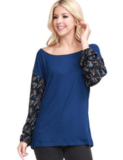 Scoop Neck Arm Point Casual Long Sleeve Top