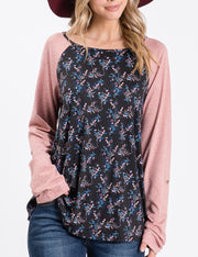 Casual Floral Pattern Contrast Roll Tab Sleeve Top