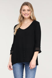 V-NECK 3/4 MINI RUFFLE SLEEVE TOP
