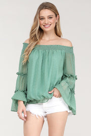 Off Shoulder Ruffle Bell Long Sleeve Top