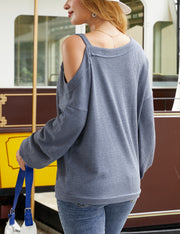 Asymmetrical Off Shoulder Long Sweater Top