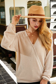 SURPLICE NECK LINE WITH LONG SLEEVE WAFFLE TOP