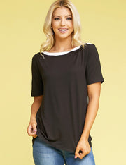 Womens short sleeve banded boat neckline casual tee