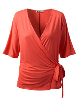 Womens short sleeve surplice neckline stylish top with side knoted ribbon