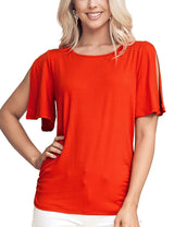 Slit Boat Neckline Stylish Top