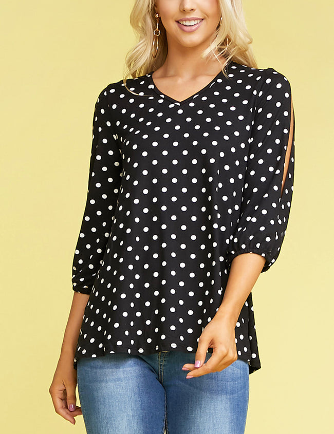 Cut Off Elastic 3/4 Sleeve V-Neck Loose Fitting Stylish Top
