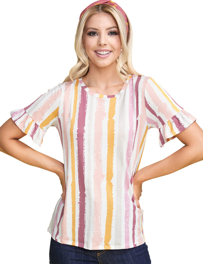 Ruffle Round Neckline Loose Fitting Casual Tee