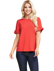 Womens ruffle short sleeve round neckline loose fitting casual tee